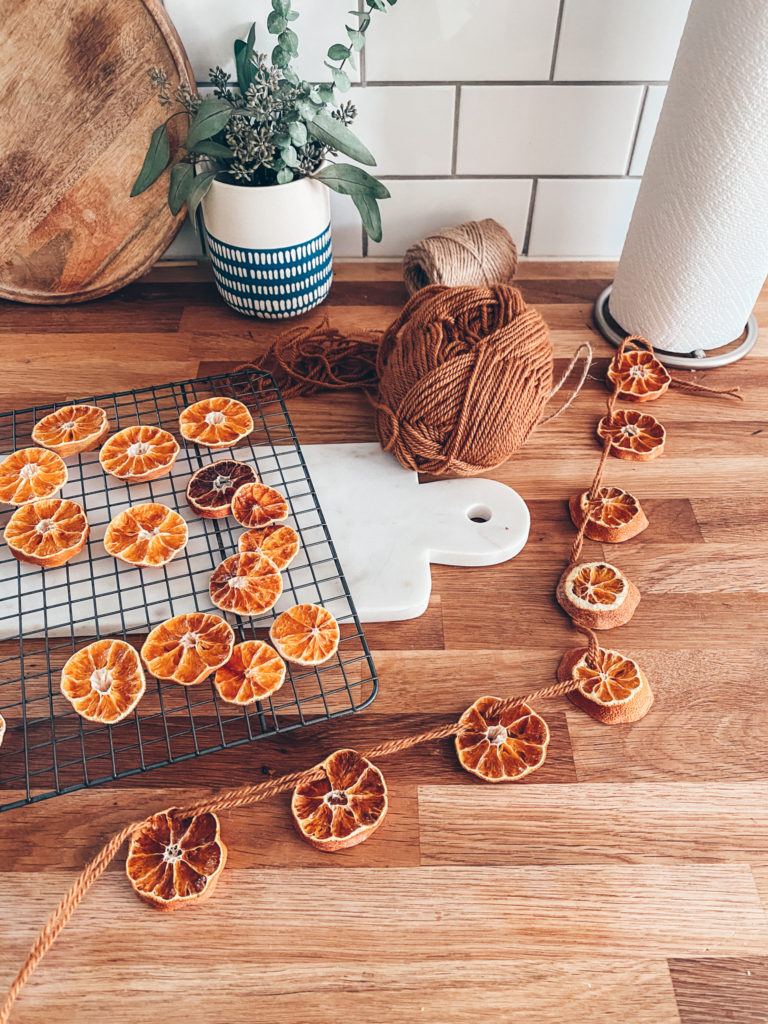Dried Orange Garland and Wrapping Christmas Gifts