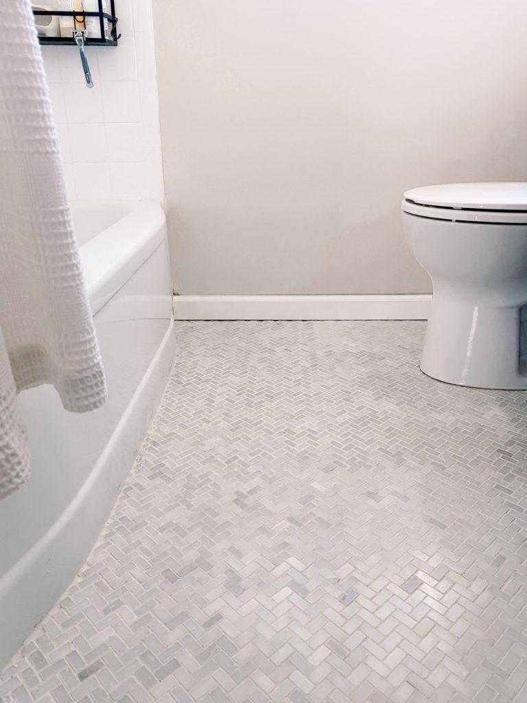 Herringbone Floor Tile In Bathroom Orc Week 6 Blushing Bungalow